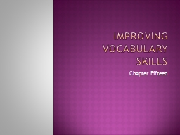 Improving Vocabulary Skills PowerPoint PPT Presentation