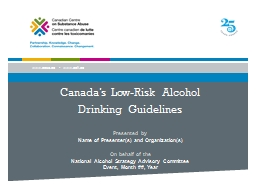 Canada�s Low-Risk Alcohol