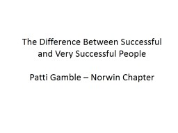 The Difference Between Successful and Very Successful