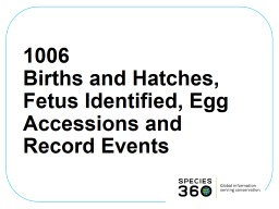 1006 Births and Hatches, Fetus Identified, Egg Accessions and Record Events