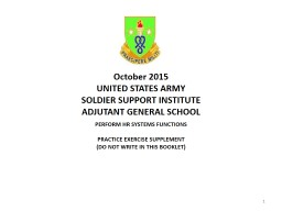 1 October 2015 UNITED STATES ARMY