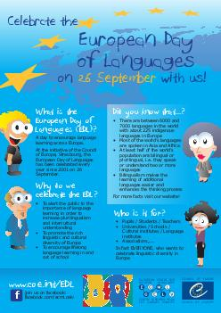 EUROPEAN CENTRE FOR MODERN LANGU GES CENTRE EUROPEEN POUR LES LANGUES VIVANTES Celebrate the European Day of Languages What is the European Day of Languages EDL        Why do we celebrate the EDL