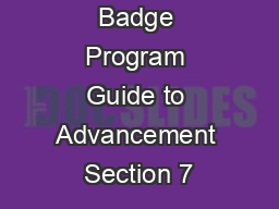 The Merit Badge Program Guide to Advancement Section 7