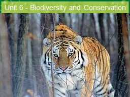 Unit 6 - Biodiversity  and Conservation