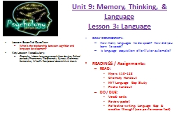 Unit 9: Memory, Thinking, & Language