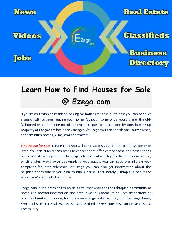 Learn How to Find Houses for Sale - Ezega.com