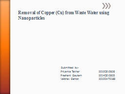 Removal of Copper (Cu) from Waste Water using Nanoparticles