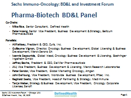 Sachs Immuno-Oncology: BD&L and Investment Forum