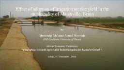 Effect of adoption of irrigation on rice yield in the municipality of Malanville, Benin