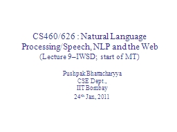CS460/626 : Natural Language