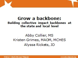 Grow a backbone:  Building collective impact backbones at the state and local level