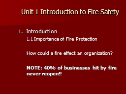 Unit 1 Introduction to Fire Safety