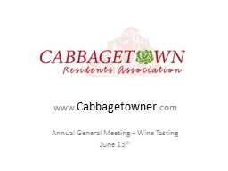 www. Cabbagetowner .com Annual General Meeting   Wine Tasting PowerPoint Presentation, PPT - DocSlides