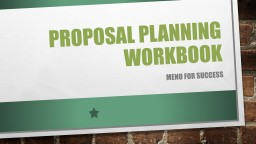 Proposal planning workbook