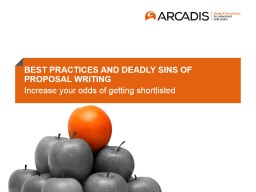 BEST PRACTICES AND DEADLY SINS OF PROPOSAL WRITING