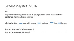 Wednesday 8/31/2016 BR Copy the following food chain in your journal.  Then write out the sentence