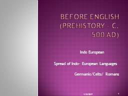 BEFORE ENGLISH (Prehistory – c. 500 AD)