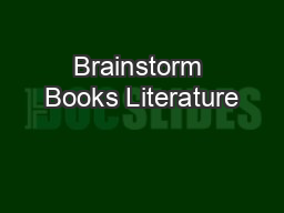 Brainstorm Books Literature