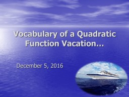 Vocabulary of a Quadratic Function Vacation…