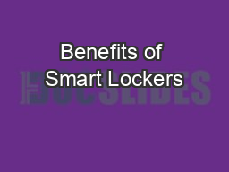 Benefits of Smart Lockers