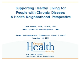 PUBLIC HEALTH DIVISION Health Promotion & Chronic Disease Prevention