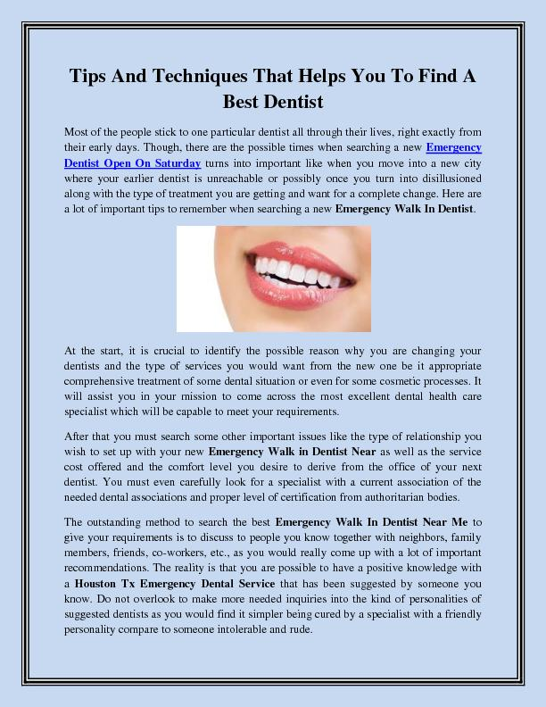 Tips And Techniques That Helps You To Find A Best Dentist