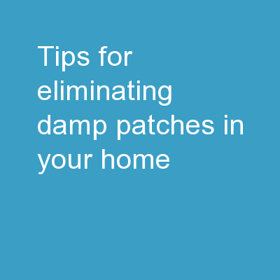 Tips For Eliminating Damp Patches In Your Home