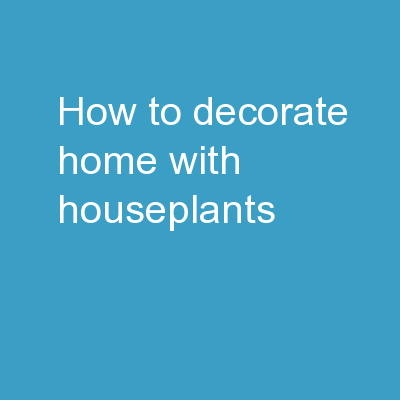How to decorate home with houseplants