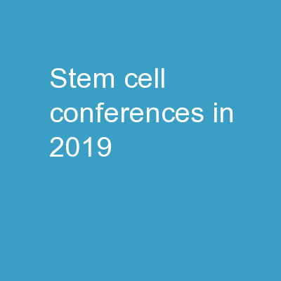 stem cell conferences in 2019