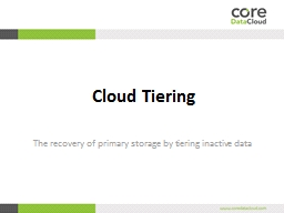 Cloud  Tiering The recovery of primary