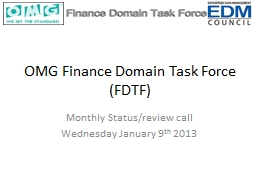 OMG Finance   Domain Task Force (FDTF)