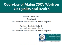 Overview of Maine CDC�s Work on