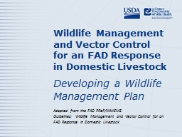 Wildlife Management and Vector Control for an FAD Response in Domestic Livestock