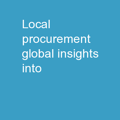 Local Procurement Global Insights into