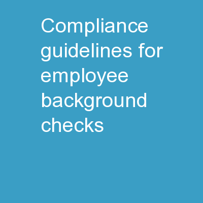 Compliance Guidelines For Employee Background Checks