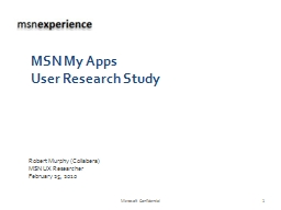 msnux MSN My Apps  User Research Study
