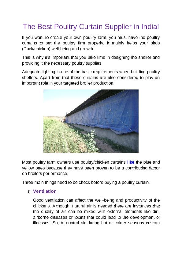 The Best Poultry Curtain Supplier in India!