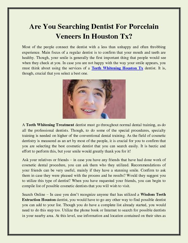 Are You Searching Dentist For Porcelain Veneers In Houston Tx
