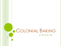 Colonial Baking By Fionna Du 7A2