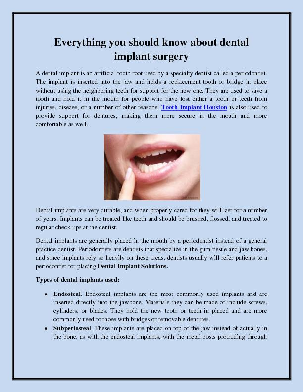 Everything you should know about dental implant surgery PowerPoint PPT Presentation