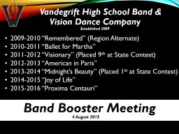 Vandegrift High School Band &