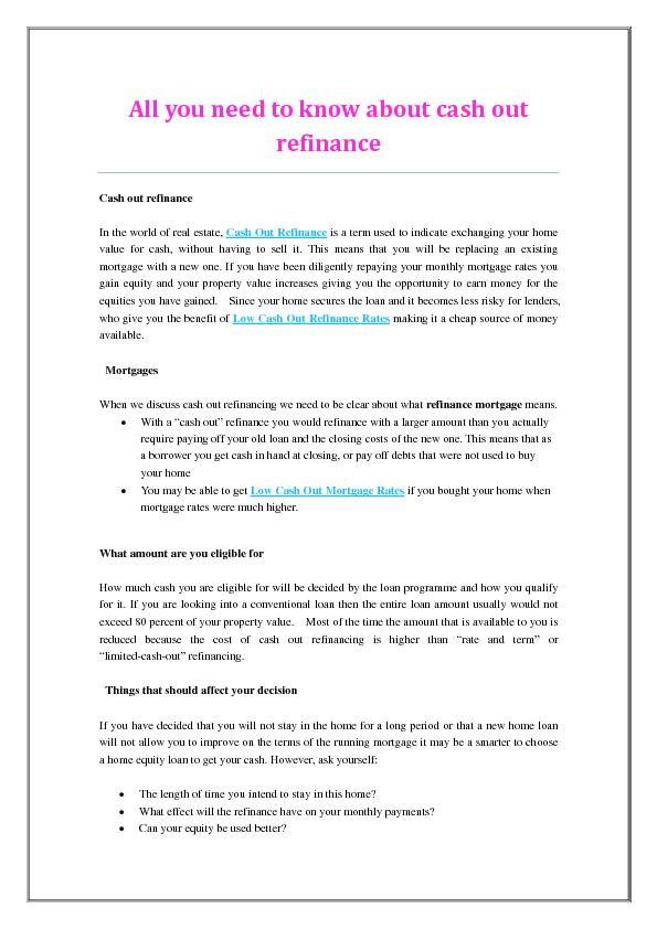 All you need to know about cash out refinance PDF document - DocSlides