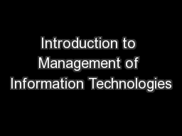 Introduction to Management of Information Technologies