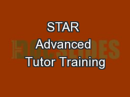 STAR Advanced Tutor Training
