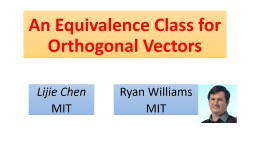 An Equivalence Class for Orthogonal Vectors