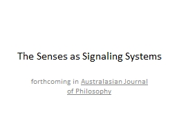 The Senses as Signaling Systems