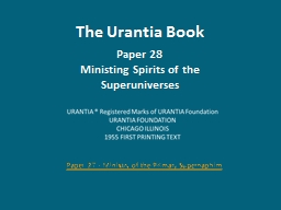 The Urantia Book Paper 28