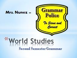 Second Semester Grammar World Studies