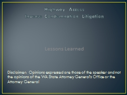 Highway Access Inverse Condemnation Litigation