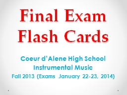 Final Exam Flash Cards Coeur d'Alene High School